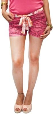 S9 Women Floral Print Women's Pink, Brown Denim Shorts