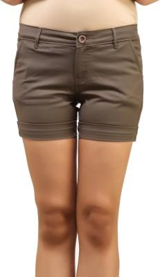 Adam n Eve Solid Women's Brown Basic Shorts