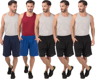 Meebaw Self Design Men,s Dark Blue, Blue, Black, Black, Black Sports Shorts
