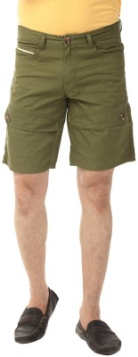 YOO Solid Men's Green Basic Shorts