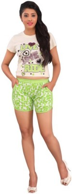 Red Rose Printed Women's Green Bermuda Shorts