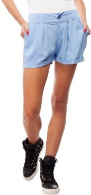 Orous Solid Women,s Blue Basic Shorts