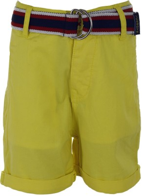 Ice Boys Solid Boy's Yellow Basic Shorts