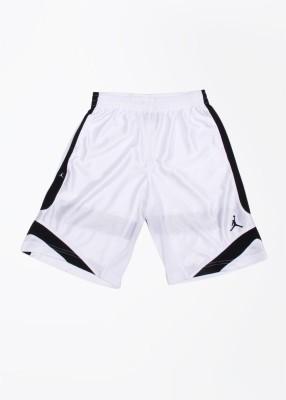 Jordan Kids Solid Boy's White, Black Sports Shorts