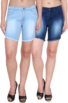 Ansh Fashion Wear Solid Women's Blue, Blue Denim Shorts