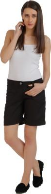 Holidae Solid Women's Black Basic Shorts
