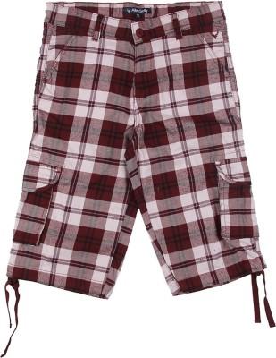 Allen Solly Checkered Boy's Maroon Basic Shorts