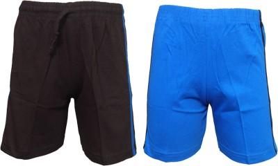 Little Stars Solid Boy's Black, Blue Basic Shorts