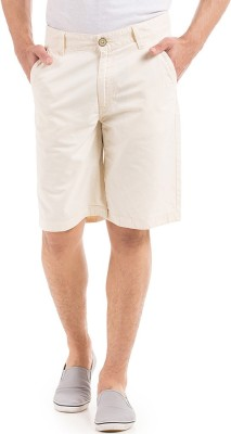 Flying Machine Solid Men's Yellow Basic Shorts