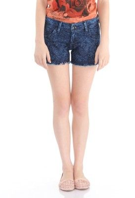 Pepe Jeans Printed Women's Blue Denim Shorts