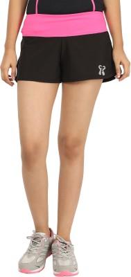 Coreathletics Solid Women's Black, Pink Sports Shorts