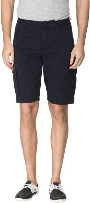 Zovi Solid Men's Blue Cargo Shorts