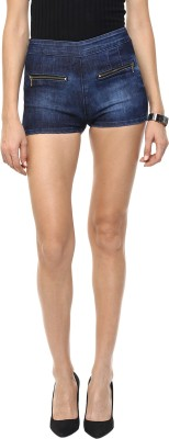 GOFAB Self Design Women,s Blue Denim Shorts