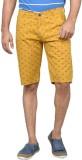 Clickroo Printed Men's Yellow Chino Shor...