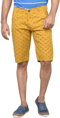 Clickroo Printed Men's Yellow Chino Shorts
