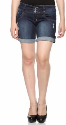 Fasnoya Solid Women,s Denim Dark Blue Denim Shorts