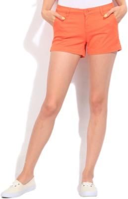 Flying Machine Solid Women's Orange Basic Shorts
