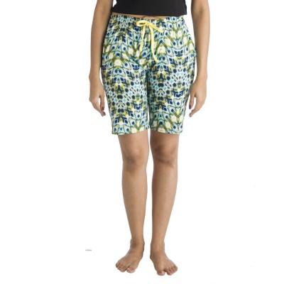 Nite Flite Printed Women's Green, Multicolor Bermuda Shorts