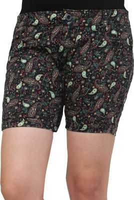 Cottinfab Printed Women's Black, Multicolor Denim Shorts