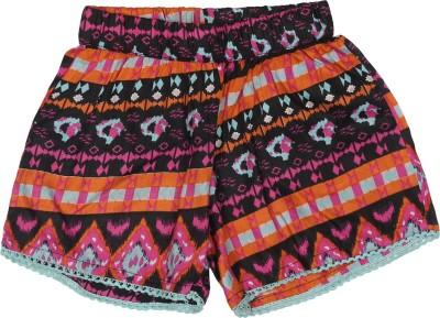 Addyvero Printed Girl's Black, Orange Basic Shorts