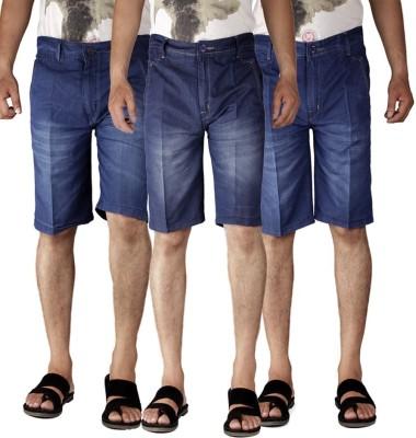 American-Elm Self Design Men's Blue Denim Shorts
