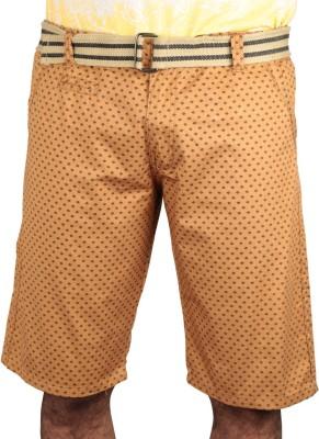 Caris Self Design Men's Yellow Basic Shorts, Sports Shorts, Night Shorts
