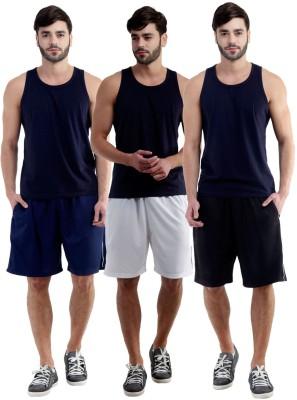 Dee Mannequin Self Design Men's White, Dark Blue, Black Sports Shorts
