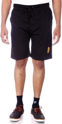 Shootr Solid Men's Black Bermuda Shorts