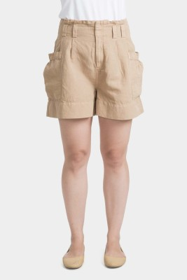 Bhane Solid Women's Beige Baggy Shorts