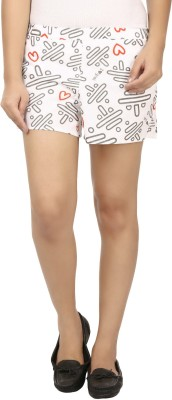 Modimania Printed Women's White, Black Basic Shorts