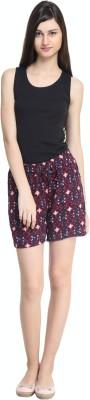 zurick Printed Women's Maroon Basic Shorts