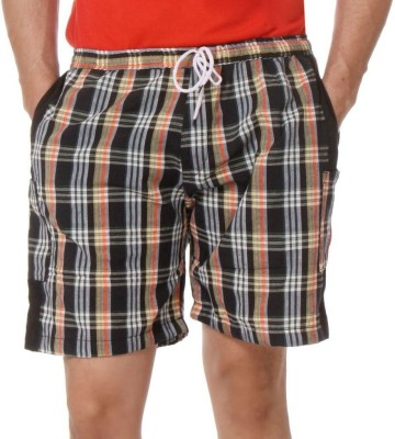 TeeMoods Checkered Men's Black Boxer Shorts