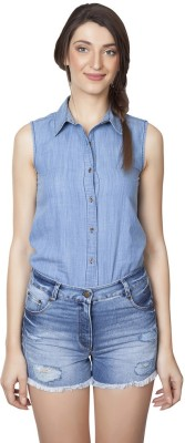 IRALZO Solid Women's Denim Blue Denim Shorts