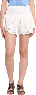 Ozel Studio Solid Women's White Beach Shorts
