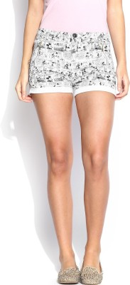 Kook N Keech Disney Printed Women's White Hotpants