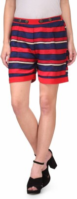 Natty India Striped Women's Blue, Red Basic Shorts at flipkart