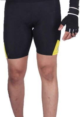 Attiva Solid Men's Yellow, Black Cycling Shorts
