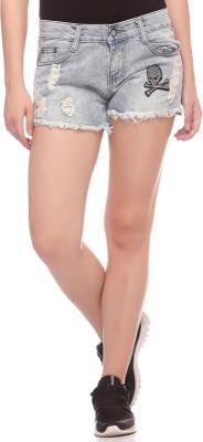 Fasnoya Self Design Women,s Denim Light Blue Denim Shorts