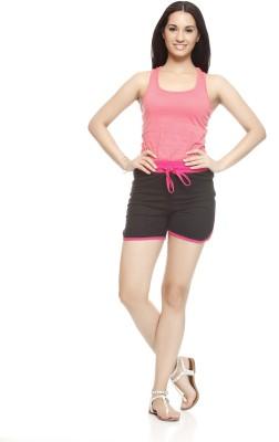 Gritstones Solid Women's Pink, Black Basic Shorts