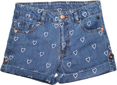 FS Mini Klub Printed Girl's Blue Denim Shorts