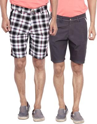 Calloway Solid Men's Grey, Black, White Basic Shorts