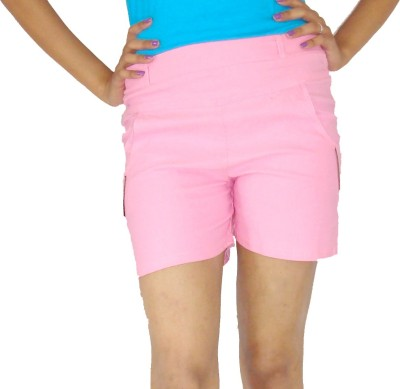 E2G Solid Women's Pink Hotpants
