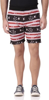 FREE RUNNER Printed Men's Red, White Beach Shorts