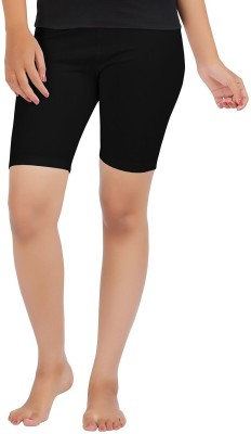 Sungrace Solid Girl's Black Cycling Shorts