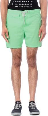 People Solid Men's Green Denim Shorts
