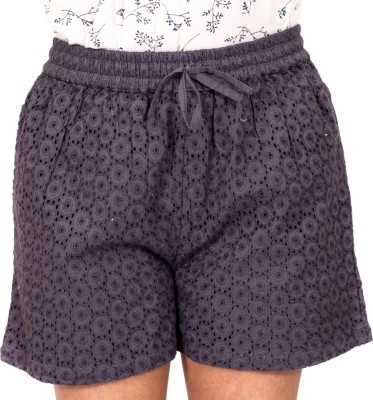 ZUZIZ Embroidered Women's Grey Basic Shorts