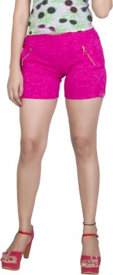 Ruok Embroidered Women's Pink Hotpants