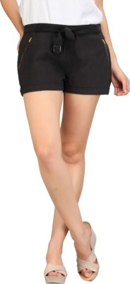 Nineteen Solid Women's Black Basic Shorts