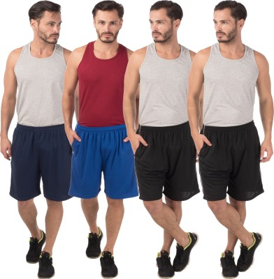 Meebaw Self Design Men,s Dark Blue, Blue, Black, Black Sports Shorts