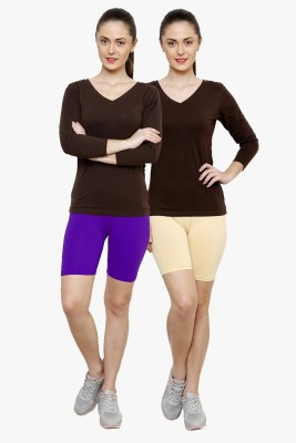 Softrose Solid Women's Purple, Beige Cycling Shorts